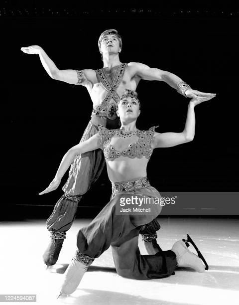 Portrait of English figure skating duo Jayne Torvill and Christopher Dean as they perform on ice, November 1986. The pair were the 1984 Olympic gold...