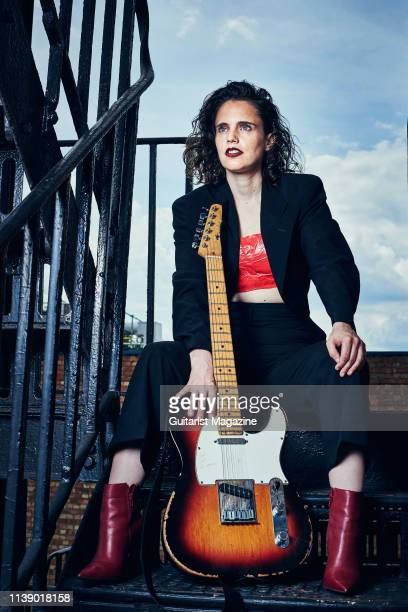 Portrait of English indie rock musician Anna Calvi photographed at the Fender Artist Lounge in London on July 9 2018