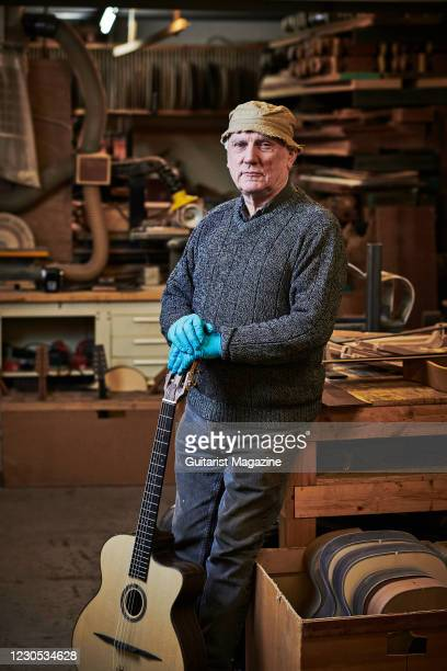 Portrait of English luthier Roger Bucknall, photographed at the Fylde Guitars workshop in Penrith, England, on December 12, 2019.