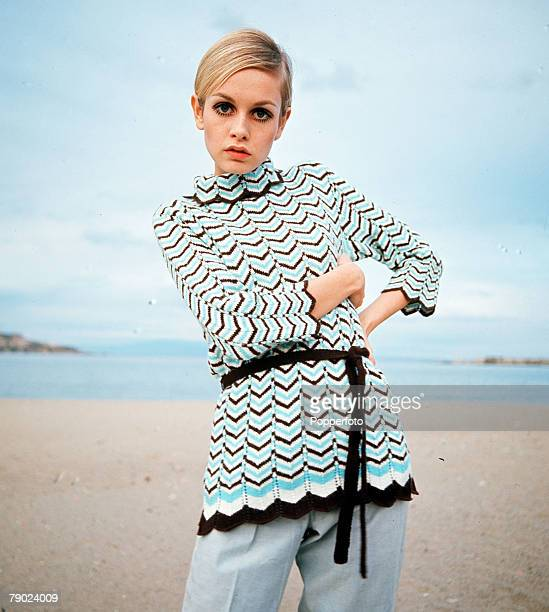 Portrait of English model Twiggy on a beach wearing a knitted top, 8th April 1967.