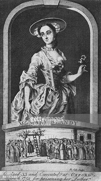 Portrait of English murderer Mary Blandy along with a depiction of her execution at Oxford on 6th April 1752. Blandy poisoned her father, Francis,...