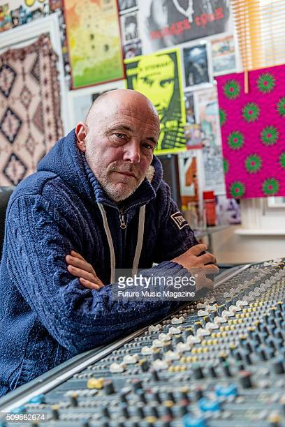 Portrait of English musician and producer Adrian Sherwood photographed at his home studio in Ramsgate on March 23 2015
