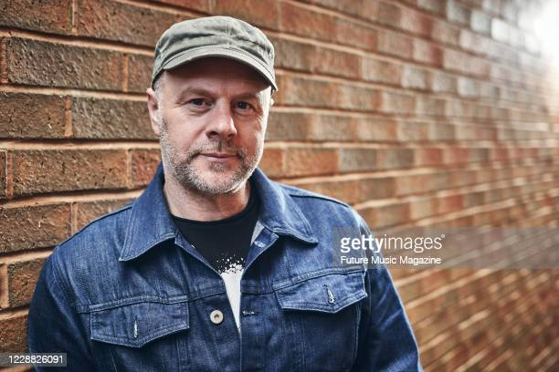 Portrait of English musician and producer Andrew Meecham, also known by the recording name The Emperor Machine, photographed at Llama Farm Studio in...