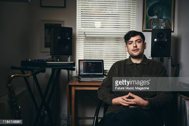 Portrait of English musician and producer Pete Cunningham founding member of experimental electronica group Ishmael Ensemble photographed at his...