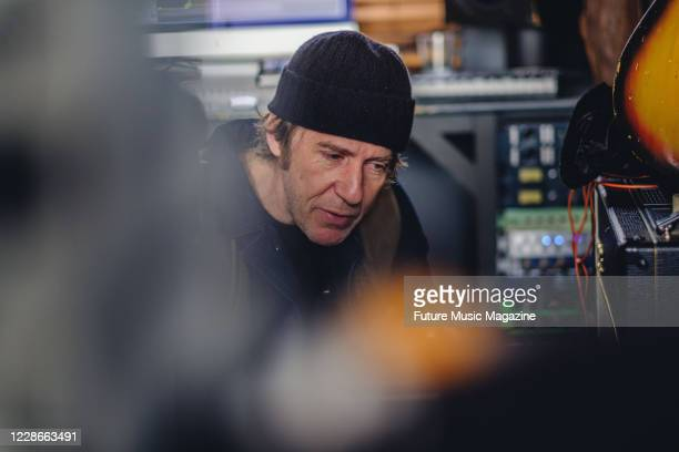 Portrait of English musician and producer Richard Maquire better known by his recording name Richard Fearless photographed at his studio in London on...