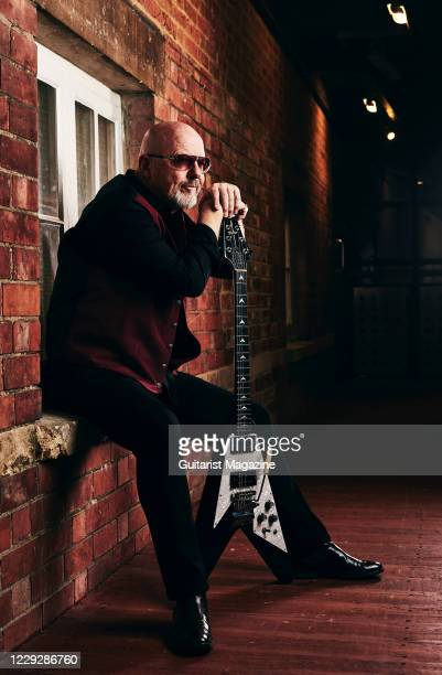 Portrait of English musician Andy Powell, guitarist with rock group Wishbone Ash, photographed before a live performance at Swindon Arts Centre in...