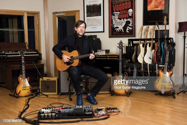 Portrait of English musician Ed OBrien, guitarist with alternative rock group Radiohead, photographed at Assault & Battery Studios in London, on...