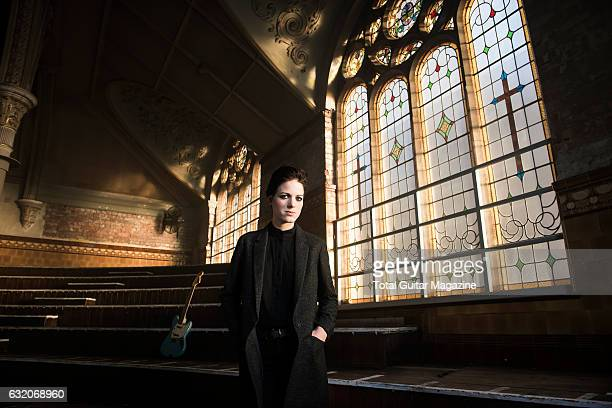 Portrait of English musician Gemma Thompson, guitarist with indie rock group Savages, photographed before a live performance at the Albert Hall in...