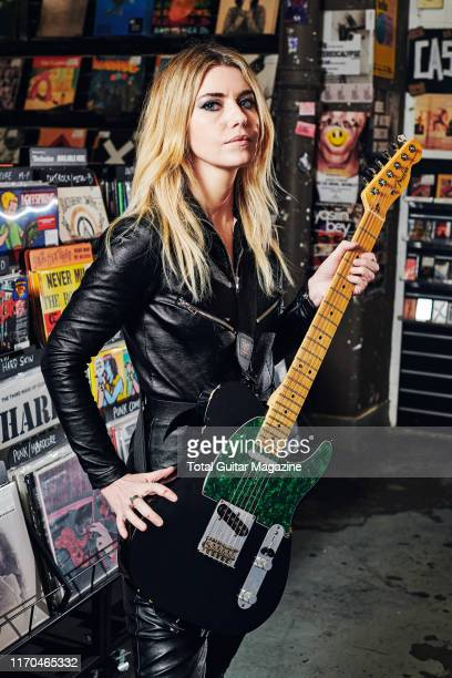 Portrait of English musician Laura-Mary Carter, guitarist and vocalist with alternative rock group Blood Red Shoes, photographed at Rough Trade in...