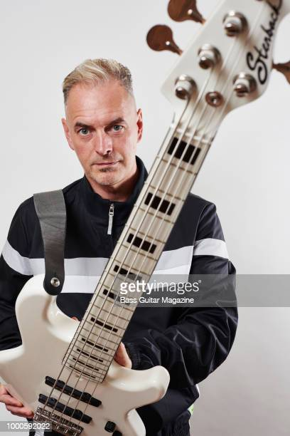 Portrait of English musician Paul Turner bassist with funk rock group Jamiroquai photographed in High Wycombe on August 1 2017