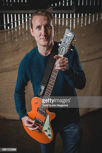 Portrait of English musician Steve Cleaton guitarist with progressive rock group The Fierce The Dead photographed backstage at ArcTanGent Festival in...