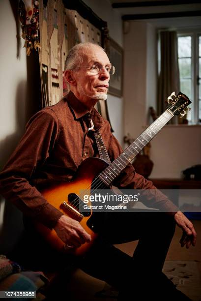 Portrait of English musician Steve Howe guitarist with progressive rock group Yes photographed at his home in southwest England on December 7 2017