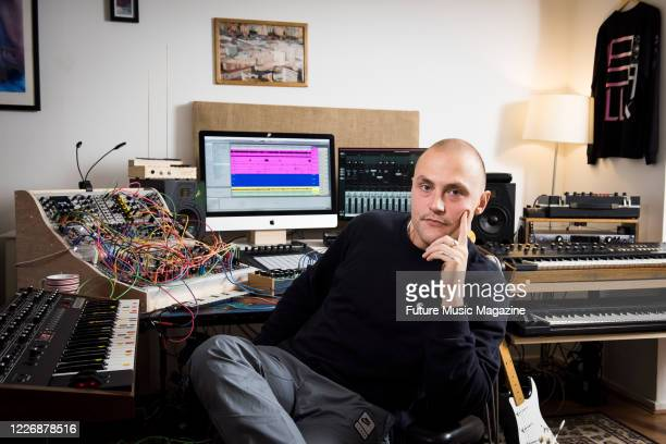Portrait of English musician Stuart Howard better known by his recording name Lapalux photograpged at his studio in London on October 18 2019