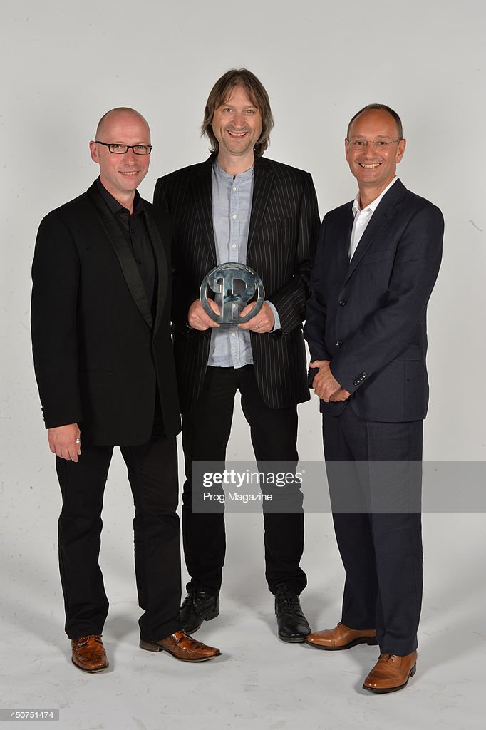 Portrait of English musicians (L-R) David Longdon, Greg Spawton and Andy Poole photographed after winning the Breakthrough Act Award at the 2013 Progressive Music Awards at Kew Gardens in London, on September 3, 2013.