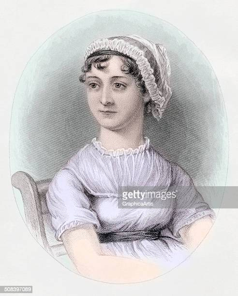 Portrait of English novelist Jane Austen after a watercolor by Cassandra Austen handcolored engraving c 1850