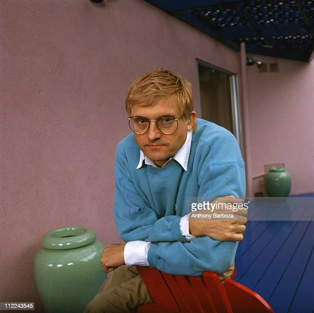 Portrait of English painter David Hockney wearing a light blue sweatshirt Los Angeles CA late twentieth century