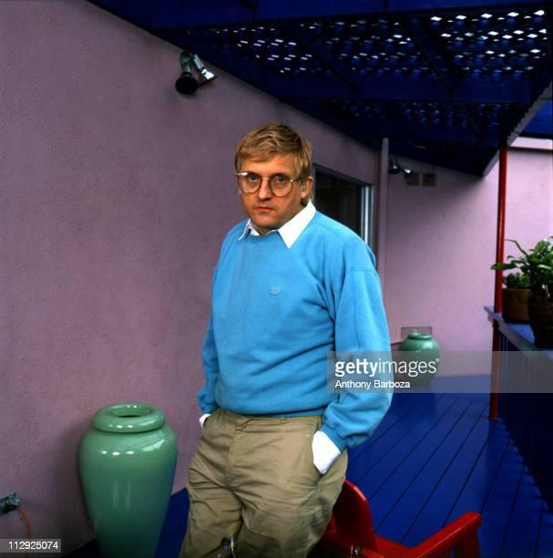 Portrait of English painter David Hockney wearing a light blue sweatshirt Los Angeles CA late twentieth century