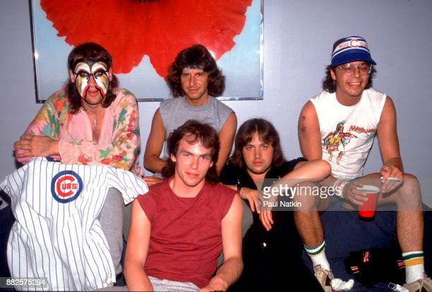 Portrait of English rock band Marillion at the Park West in Chicago Illinois September 22 1983 Left to right singer Fish keyboard player Mark Kelly...