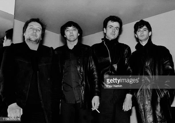 Portrait of English Rock group the Stranglers as they pose backstage at the Park West, Chicago, Illinois, April 19, 1983. Pictured are, from left,...