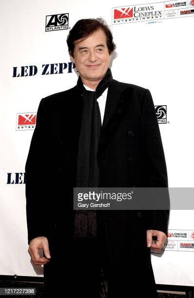Portrait of English Rock musician Jimmy Page, of the group Led Zeppelin, as he arrives at the Loew's State Theatre, New York, New York, May 27, 2003....