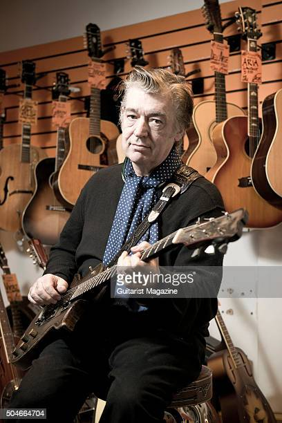 Portrait of English session musician Chris Spedding photographed at Wunjo Guitars in London on January 29 2015 Spedding is best known as a rock and...
