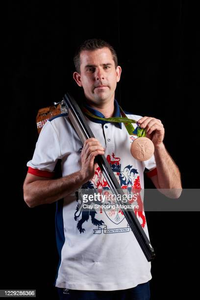 Portrait of English sport shooter Ed Ling, photographed at his farm near Nynehead in Somerset, on August 12, 2016. Ling won a bronze medal in the...
