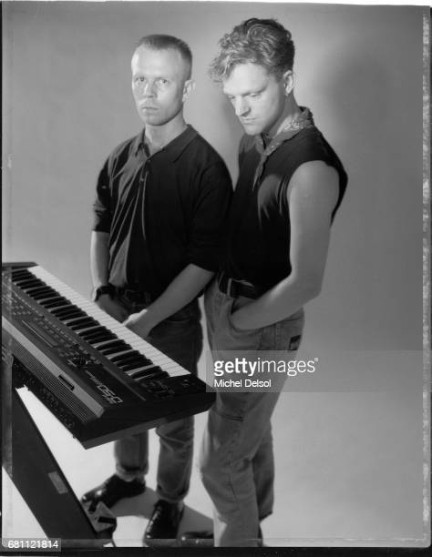 Portrait of Erasure synthpop duo from left to right Vince Clarke singer and songwriter and Andy Bell songwriter and keyboardist New York City New...