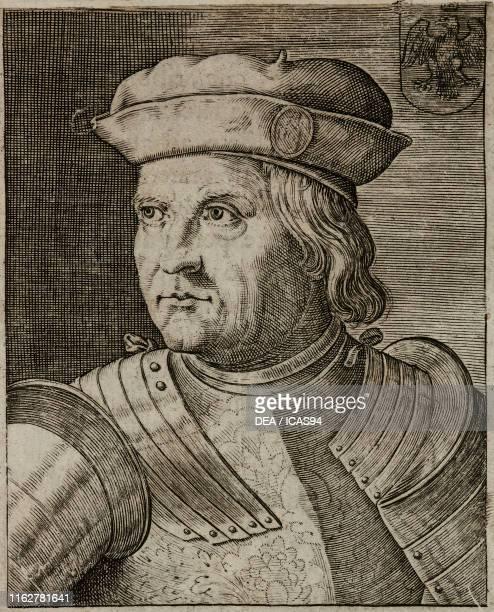 Portrait of Ercole I d'Este , Duke of Ferrara, engraving from Ritratti et elogii di capitani illustri , by Giulio Roscio, Agostino Mascardi, Fabio...