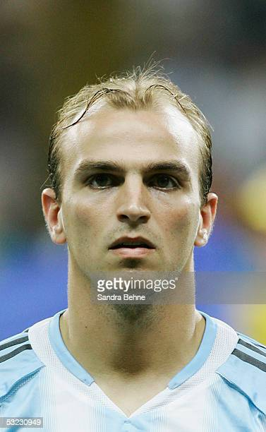 A portrait of Esteban Cambiasso of Argentina prior to the FIFA 2005 Confederations Cup Final between Brazil and Argentina at the Waldstadion on June...