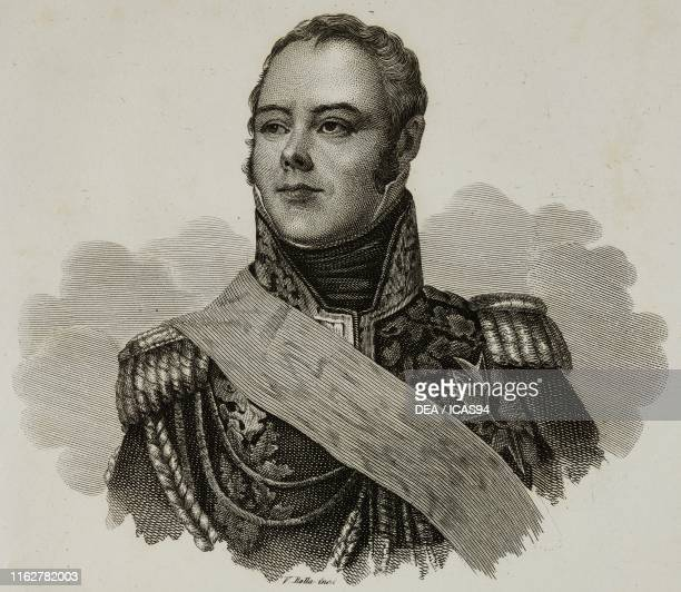 Portrait of Etienne Jacques Joseph Alexandre Macdonald French general engraving by V Rolla from Vite dei primarj marescialli e generali che ebbero...
