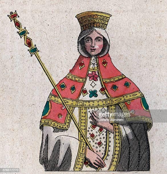 portrait of Eudokia Ingerina wife of the Byzantine emperor Basil I engraving from Usi e Costumi di Tutti i Popoli dell'Universo Ovvero Storia del...