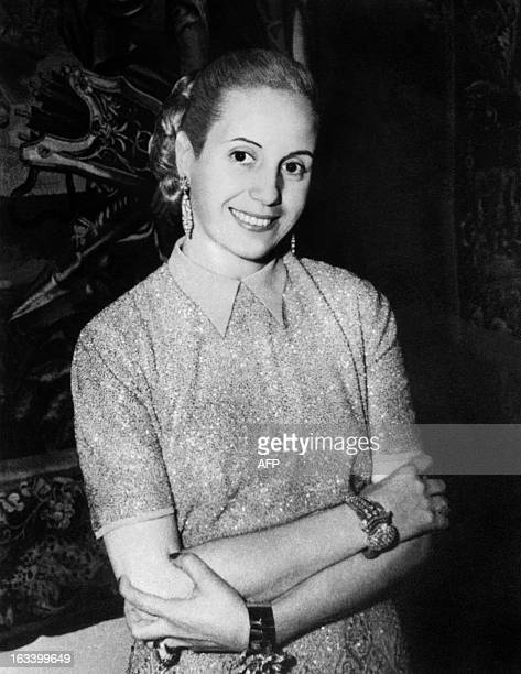 Portrait of Eva Peron taken in 1951 in Buenos Aires Born in 1919 and known as Evita the second wife of Juan Peron Argentine president she was a radio...