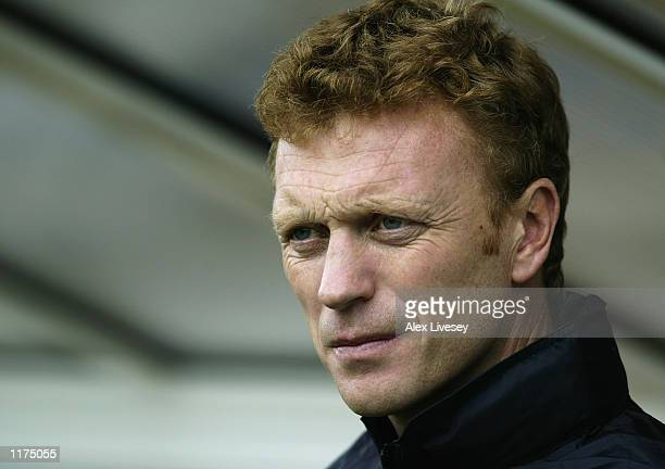 Portrait of Everton manager David Moyes during the preseason friendly between Shrewsbury Town and Everton at Gay Meadow in Shrewsbury England on July...