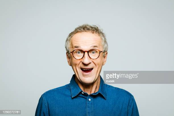 portrait of excited senior man - humour stock pictures, royalty-free photos & images