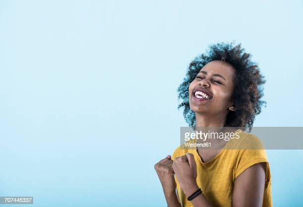 portrait of excited young woman - head back stock pictures, royalty-free photos & images