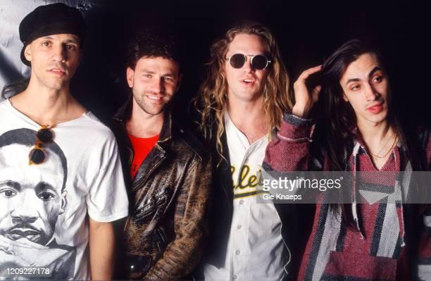 Portrait of Extreme, Gary Cherone, Nuno Bettencourt, Paul Geary, Patrick Badger, backstage, Torhout/Werchter Festival, Werchter, Belgium, 5 July 1992.