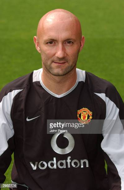 A portrait of Fabien Barthez during the Manchester United official photocall at Old Trafford on August 11 2003 in Manchester England