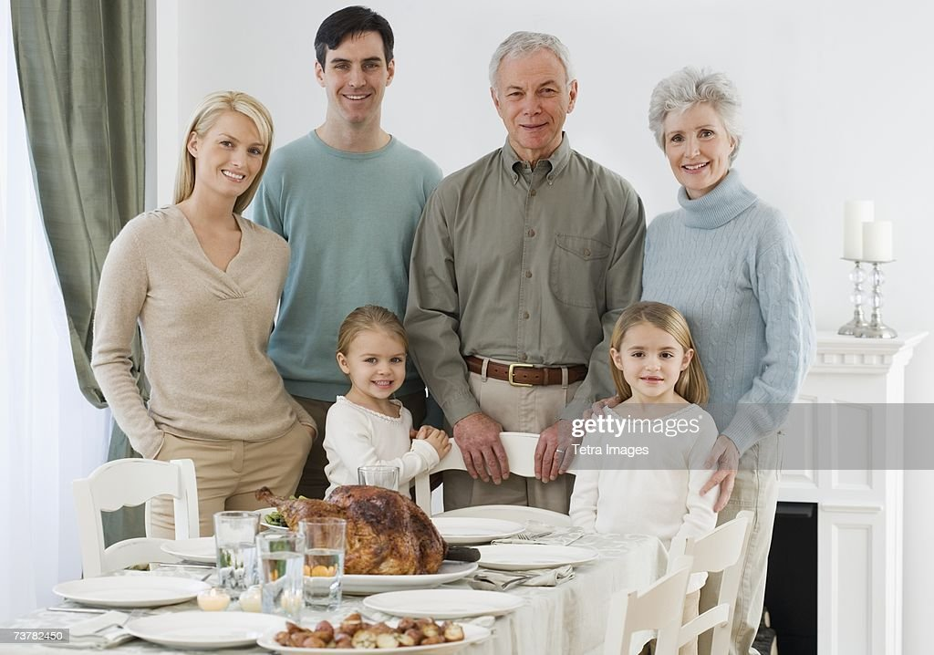 Portrait of family at Thanksgiving table : Stock Photo
