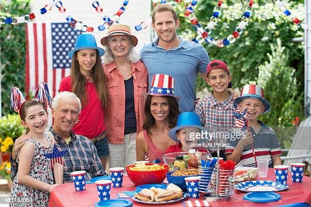 Portrait of Family celebraring 4th of July