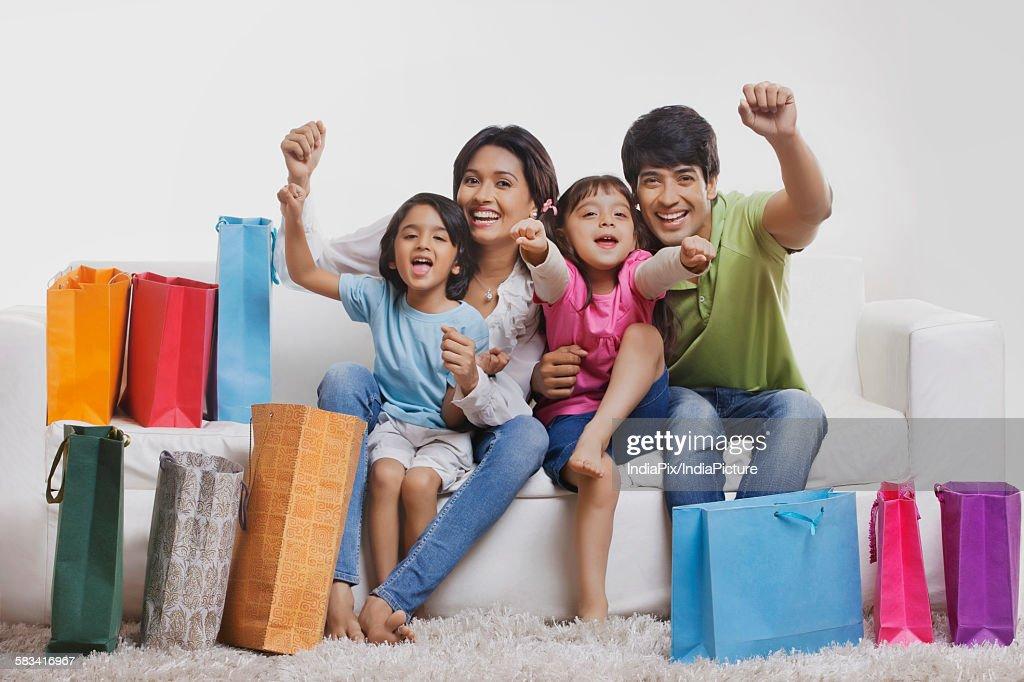 Portrait of family enjoying : Stock Photo