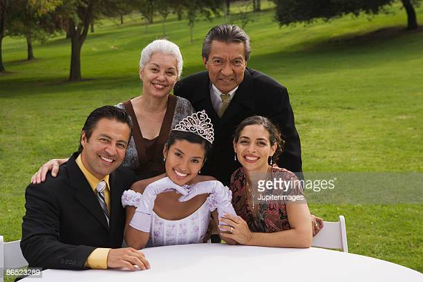 portrait of family - quinceanera stock pictures, royalty-free photos & images