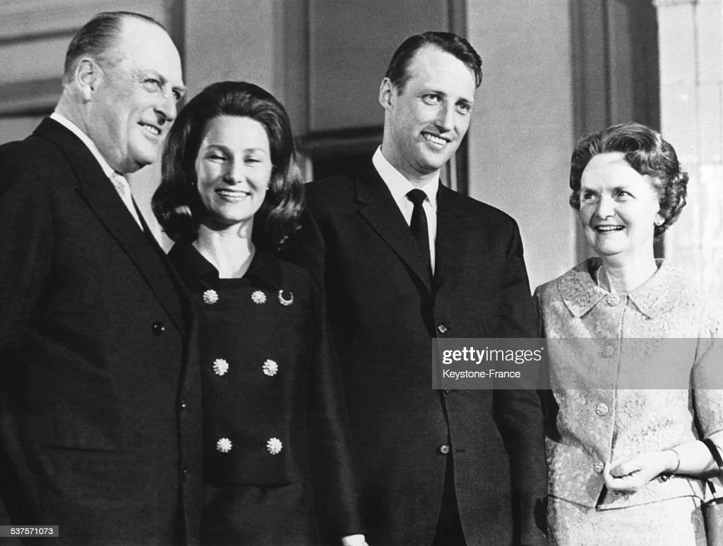 Portrait Of Family with King Olav V and his wife Martha of Sweden, his son Prince Harald with his young wife Princess Sonja, circa 1970 in Oslo, Norway.