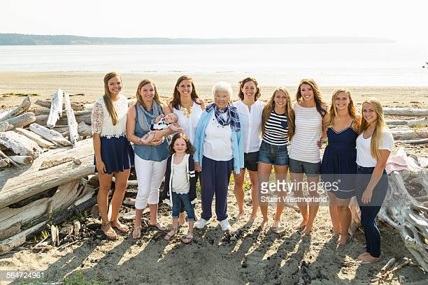 Portrait of family with three generations female and baby boy