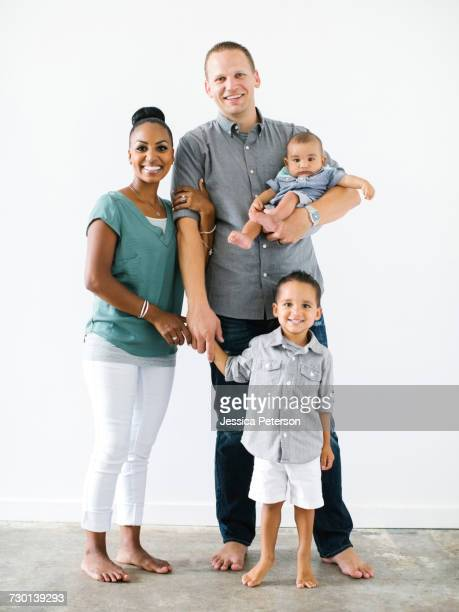 portrait of family with two children (2-5 months, 2-3) - 2 5 months stock pictures, royalty-free photos & images