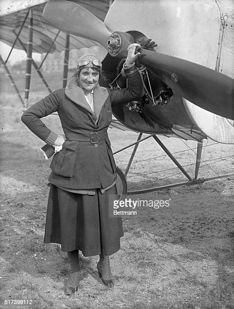 7/1919 Portrait of famous French aviatrix Baroness de la Roche who was killed Friday when the plane she was flying at Crotoy France collapsed This...