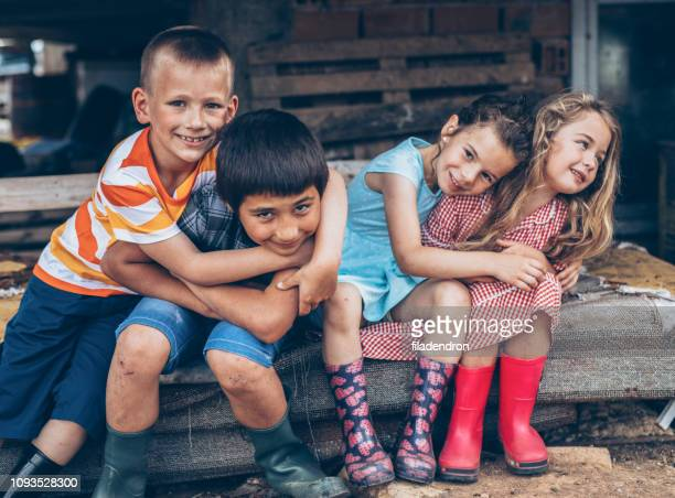 portrait of farm children - bulgaria stock pictures, royalty-free photos & images