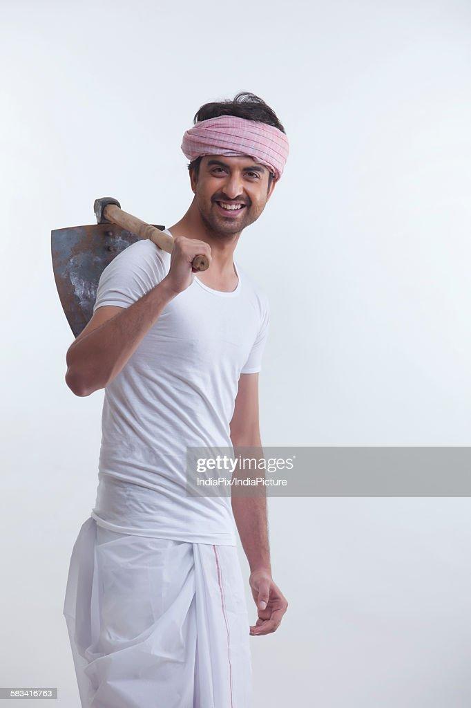 Portrait of farmer holding : Stock Photo