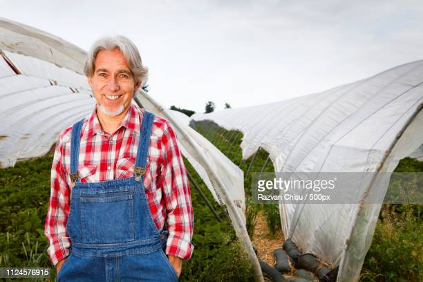portrait of farmer standing in front of greenhouse - dungarees stock pictures, royalty-free photos & images