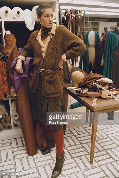 Portrait of fashion designer Donna Karan in her studio New York New York December 1978