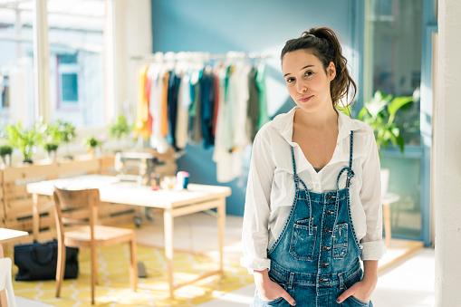 Portrait of fashion designer in her studio - gettyimageskorea